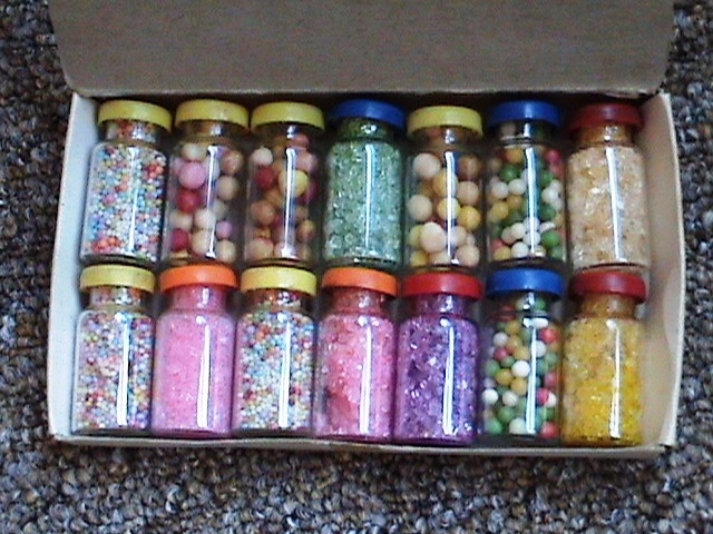 Vintage 14 Miniature Glass Jars Confectionery For Toy